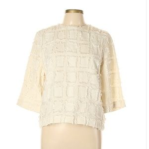 Chic H&M Geometric Blouse in soft ivory, M / 10